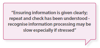 Ensuring information is given clearly; repeat and check has been understood - recognise information processing may be slow especially if stressed