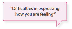 Difficulties in expressing 'how you are feeling'
